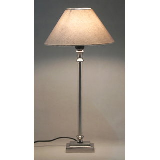 Table Lamp Rectangle Base w/ shade shiny nickel fnsh