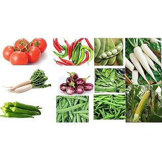 Seeds-10 Hybrid Vegetables +Corn For Roof Top Gardening And Kitchen Gardening