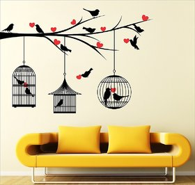 Eja Art Multicolor Love Birds With Hearts Vinyl Wall Sticker Pack of 1