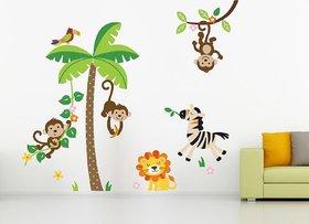 Ghar Kraft Jungle Vinyl Multicolor Wall Sticker (Pack of 1)