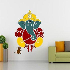 Ghar Kraft Ganesh ji Vinyl Multicolor Wall Sticker (Pack of 1)