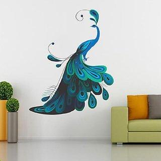 Ghar Kraft Modern Peacock Vinyl Multicolor Wall Sticker (Pack of 1)