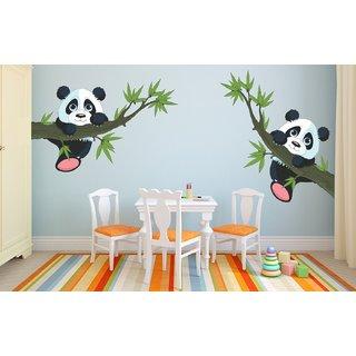 Ghar Kraft Multicolor Panda Hanging on a branch Vinyl Wall Sticker (Pack of 1)