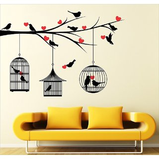 EJA Art Multicolor Love Birds With Hearts Wall Sticker