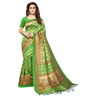 Vastrani Green Poly Silk Printed Saree With Unstitched Blouse