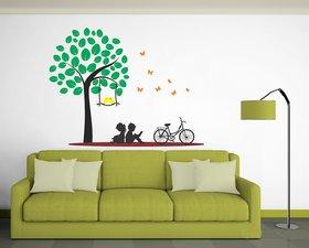 Ghar Kraft Kids under the tree Vinyl Multicolor Wall Sticker (Pack of 1)