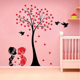 Ghar Kraft Acacia Tree cute couple kids Wall Sticker