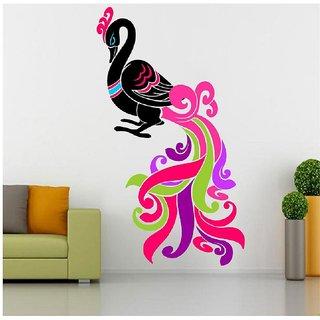 Pack Of 1 GHAR KRAFT Multicolor Vinyl Peacock Wall Sticker