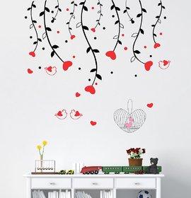 Ghar Kraft Heart Sparrow Tree Wall Sticker