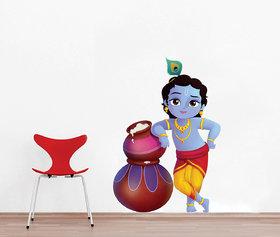 Ghar Kraft Cute bal Krishna makhan chor Vinyl Multicolor Wall Sticker (Pack of 1)