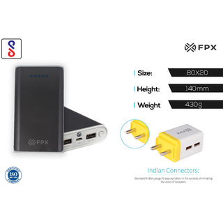 FPX 10400 mAh Power Bank Black With Combo Wall Charger 2.4Amp