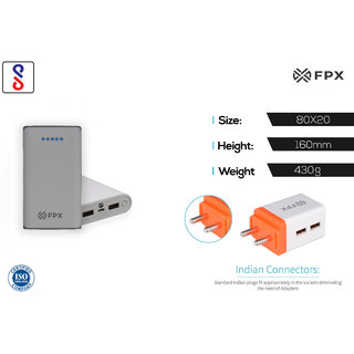FPX 10400 mAh Power Bank White With Combo Wall Charger 2.4Amp