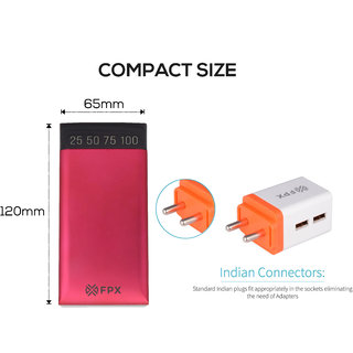 FPX 12000 mAh Voyage Power Bank Pink With Combo Wall Charger 2.4Amp