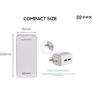 FPX 12000 mAh Energy Power Bank White With Combo Wall Charger 2.4Amp