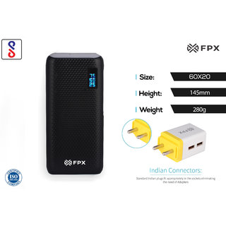 FPX 10000 mAh Vital Power Bank Black With Combo Wall Charger 2.4Amp