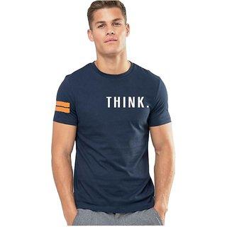 Think navy blue round neck T-shirt