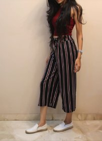 High Waist Ankle Length Clourful Striped Casual Wide Leg Knot Palazzo Pants