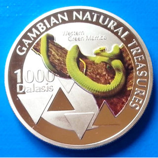 GAMBIAN NATURAL TREASURE REPUBLIC OF GAMBIA 2015 SOUVENIR  UNC SILVER PLATED COIN 40 MM X 3 MM