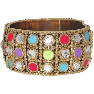 Code Yellow Multicolor Austrian Stone Gold Plated Openable Kada-1400902