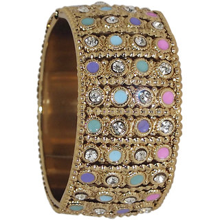 Code Yellow Gold Plated Multicolour Austrian Stone Openable Kada-1400903