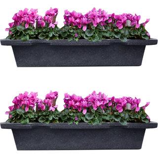 Sereno Linea Plastic Pot / Balcony Pot / Planter Pot Rectangular Square / Planters For Balcony Dark Grey Stone 9040