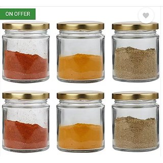 Glass Jar Set of 6  (200 ML) EACH, with Golden Color Air Tight Metal Lid