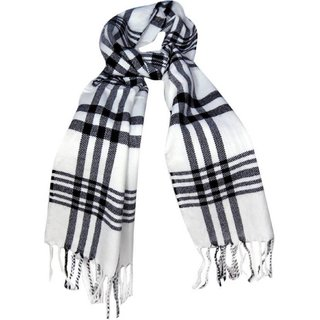 Tahiro White Woollen Check Print Muffler For Men - Pack Of 1