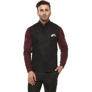 Hangup Mens Black Plain Regular Fit Nehru Jacket
