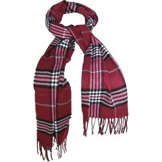 Tahiro Red Woollen Check Print Muffler For Men - Pack Of 1