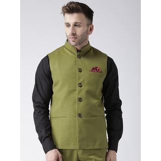 Hangup Mens Green Plain Regular Fit Nehru Jacket