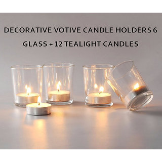 Decorative Votive Candle Holders 6 glass + 12 tealight candles