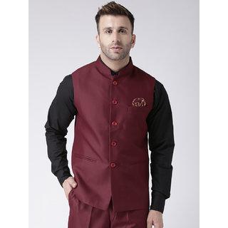 Hangup Mens Maroon Plain Regular Fit Nehru Jacket