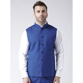 Hangup Mens Blue Plain Regular Fit Nehru Jacket