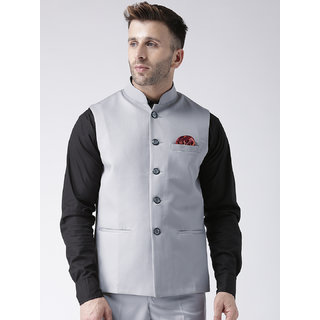 Hangup Mens Grey Plain Regular Fit Nehru Jacket