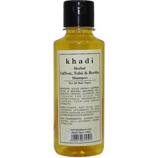 Khadi Herbal Saffron Tulsi Reetha Shampoo - 210ml