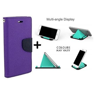 Wallet Flip Cover for Asus Zenfone 5 A501CG (2015) ( PURPLE ) With Multi-Angle Pyramids Shape Phone Holder