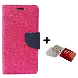 Wallet Flip Cover for Reliance Lyf Flame 1  ( PINK ) With Quantum Micro SD Card Reader