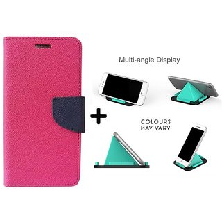 Wallet Flip Cover for HTC Desire 616  ( PINK ) With Multi-Angle Pyramids Shape Phone Holder