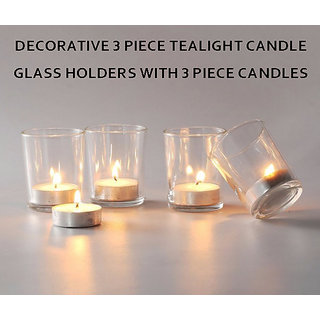 DECORATIVE 3 PIECE TEALIGHT CANDLE Glass HOLDERS WITH 3 PIECE CANDLES