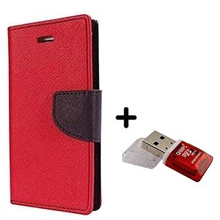 Wallet Flip Cover for Sony Xperia ZR M36H  ( RED ) With Quantum Micro SD Card Reader