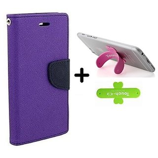 Wallet Flip Cover for Redmi Mi3  ( PURPLE ) With One Touch Mobile Stand