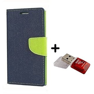 Wallet Flip Cover for Motorola Moto E  ( BLUE ) With Quantum Micro SD Card Reader