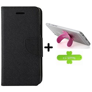 Wallet Flip Cover for ZENFONE SELFIE   ( BLACK ) With One Touch Mobile Stand