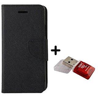 Wallet Flip Cover for Motorola Moto E3 Power  ( BLACK ) With Quantum Micro SD Card Reader