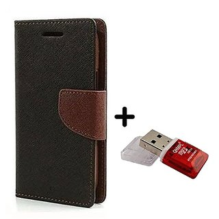 Wallet Flip Cover for Motorola Moto E3 Power  ( BROWN ) With Quantum Micro SD Card Reader