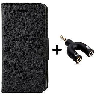 Wallet Flip Cover for ZENFONE SELFIE   ( BLACK ) With 3.5mm Stereo Male to Mic Audio Splitter