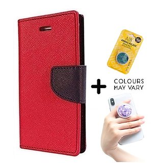 Wallet Flip Cover for Oppo F1  ( RED ) With Grip Pop Holder for Smartphones