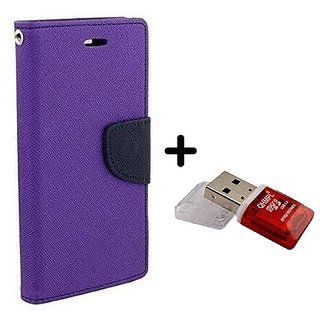 Wallet Flip Cover for Motorola Moto G (2nd Gen)  ( PURPLE ) With Quantum Micro SD Card Reader