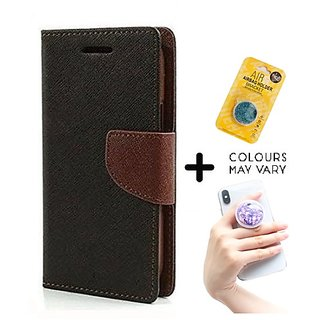 Wallet Flip Cover for GIONEE P5W   ( BROWN ) With Grip Pop Holder for Smartphones