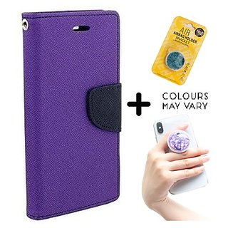 Wallet Flip Cover for Reliance Lyf Flame 1  ( PURPLE ) With Grip Pop Holder for Smartphones